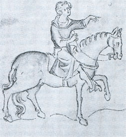 Huntsman on Horseback - Queen Mary's Psalter